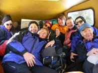 Huddled in the Bombardier Snowcoach